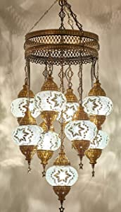 """(Customizable Globes) DEMMEX 2019 Hard-Wired or PLUGIN 1,3,5,7,9 Globes Chandelier Lights Turkish Moroccan Mosaic Ceiling Hanging Pendant Chandelier Light Lighting (9 Globes Hardwired, 41"""")"""
