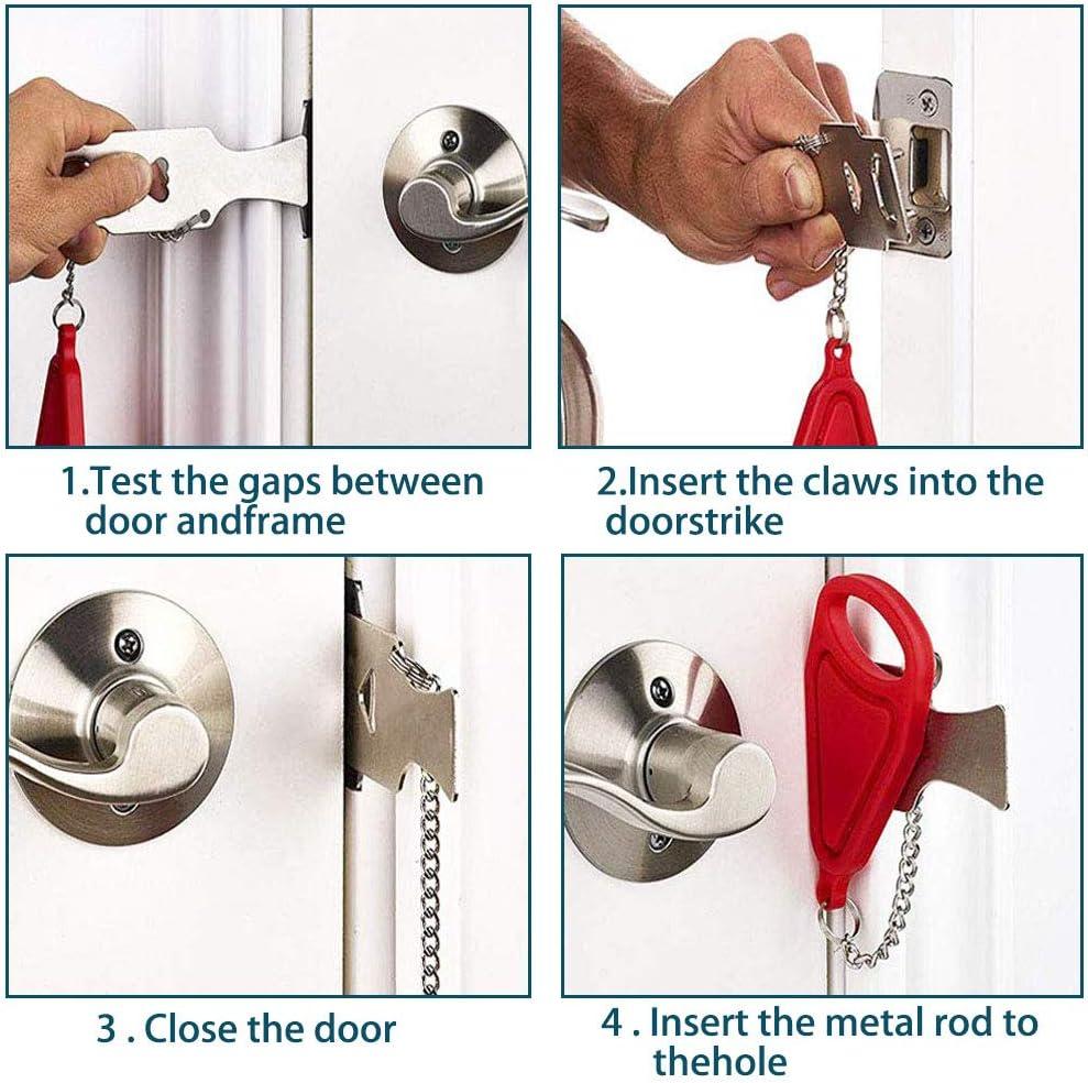 ZhenS evita el acceso no autorizado para viajes//familias//apartamentos//hotel 1 unidad + 1 cerradura de ventana port/átil Cerradura de puerta port/átil