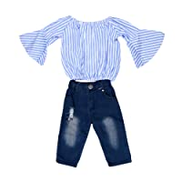 Aile Rabbit Cute Striped Top and Jeans Set