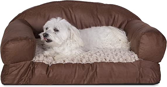 Cozy Pet Bolstered Couch-Style Faux Leather Sofa Pet Bed Brown 29 X 19 Inches