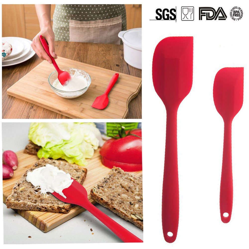 Silicone Spatula Set of 4 for Cooking Baking Cake Pancake Cookie Egg Spatula, Kitchen Large Small Mixing Spatula (Red)