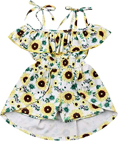 Girls Strappy Floral Frill Short Playsuit Cotton Romper Outfit Sizes from 2 to 12 Years