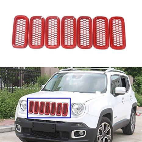 FMtoppeak Red Car Accessories Front Grille Inserts Mesh Grill Cover for Jeep Cherokee 2014-2017
