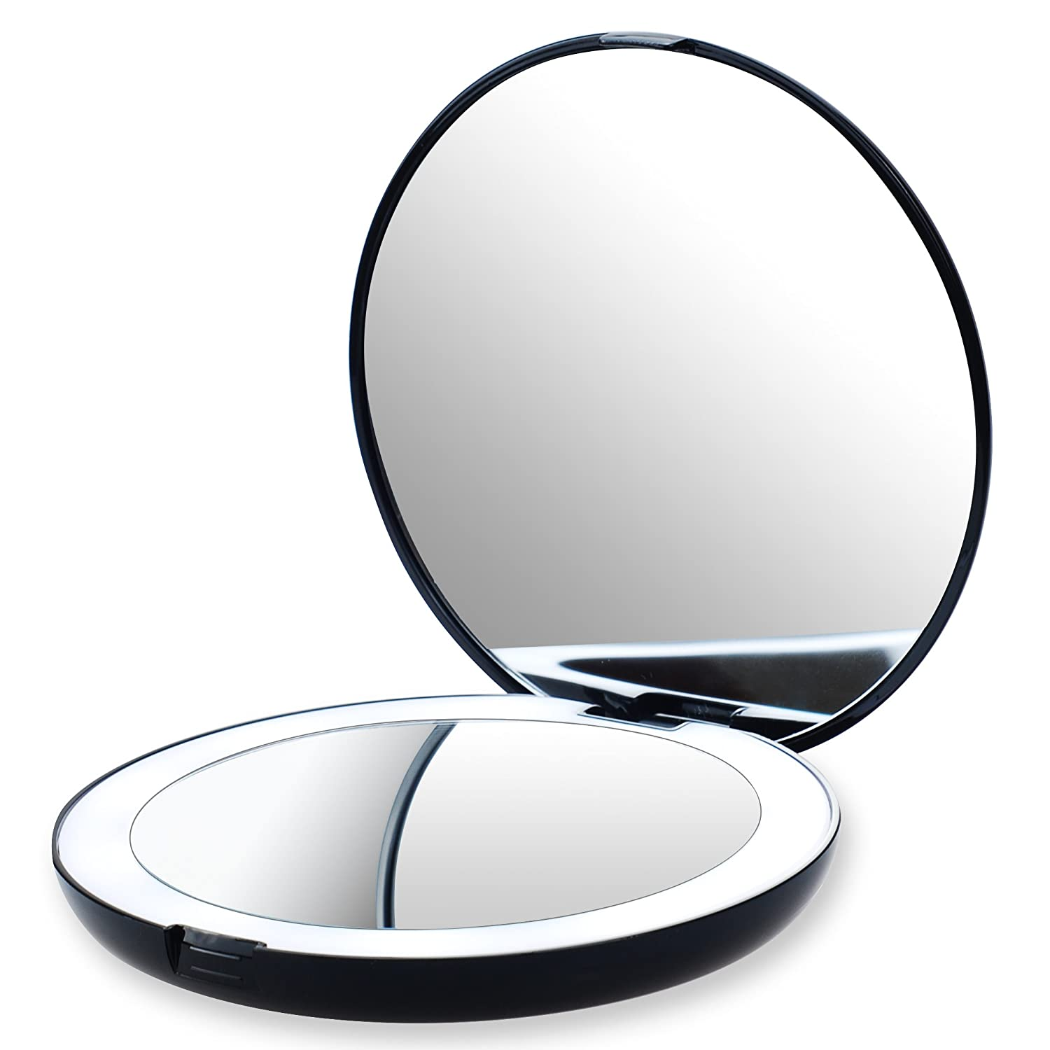 LED Lighted Travel Makeup Mirror, 1x/10x Magnification - Compact, Daylight LED, Portable Folding Travel Mirror