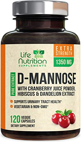 D-Mannose Capsules with Cranberry Extra Strength UTI Support 1350mg – Natural Urinary Tract Support – Made in USA – Natural Fast-Acting Pills w Dandelion Hibiscus – 120 Capsules
