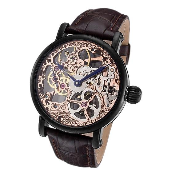 Rougois Tattoo Rose oro mecánico esqueleto reloj RS10006: Amazon.es: Relojes