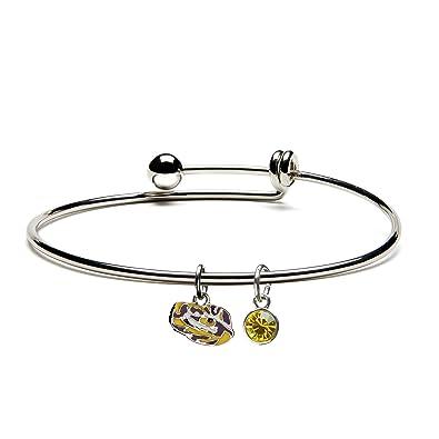 Louisiana State University Bracelet | LSU Tigers Bracelet - Dangle Bracelet with Tiger Eye and Crystal