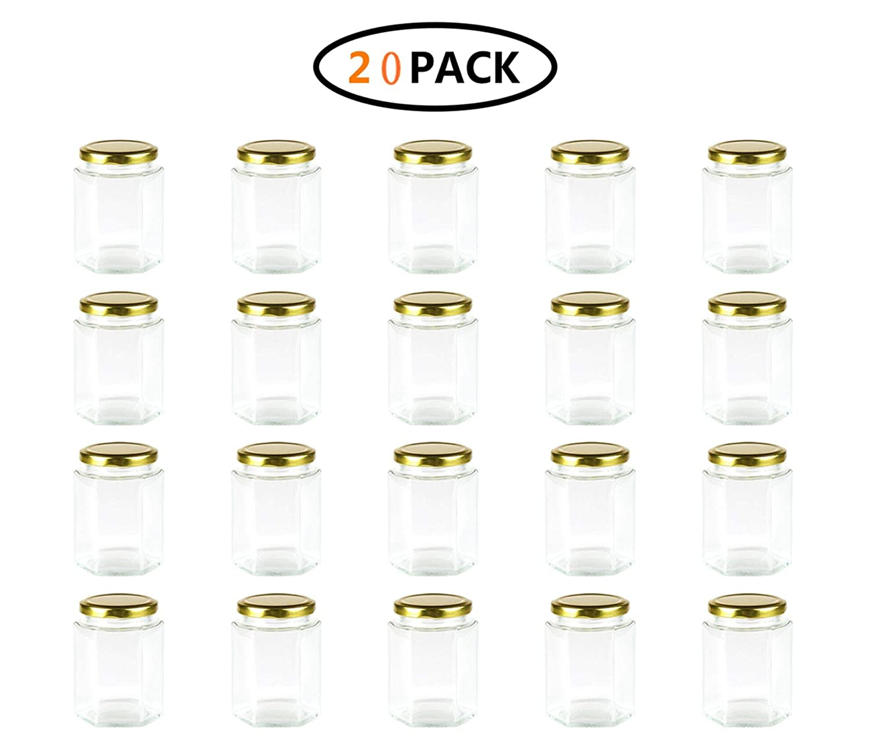 Encheng 10 oz Hexagon Jars,Clear Glass Jars With Lids(Golden),Mason Jars For Honey,Foods,Jams,Liquid,Herb Jars Spice Jars Canning Jars For Storage 20 Pack