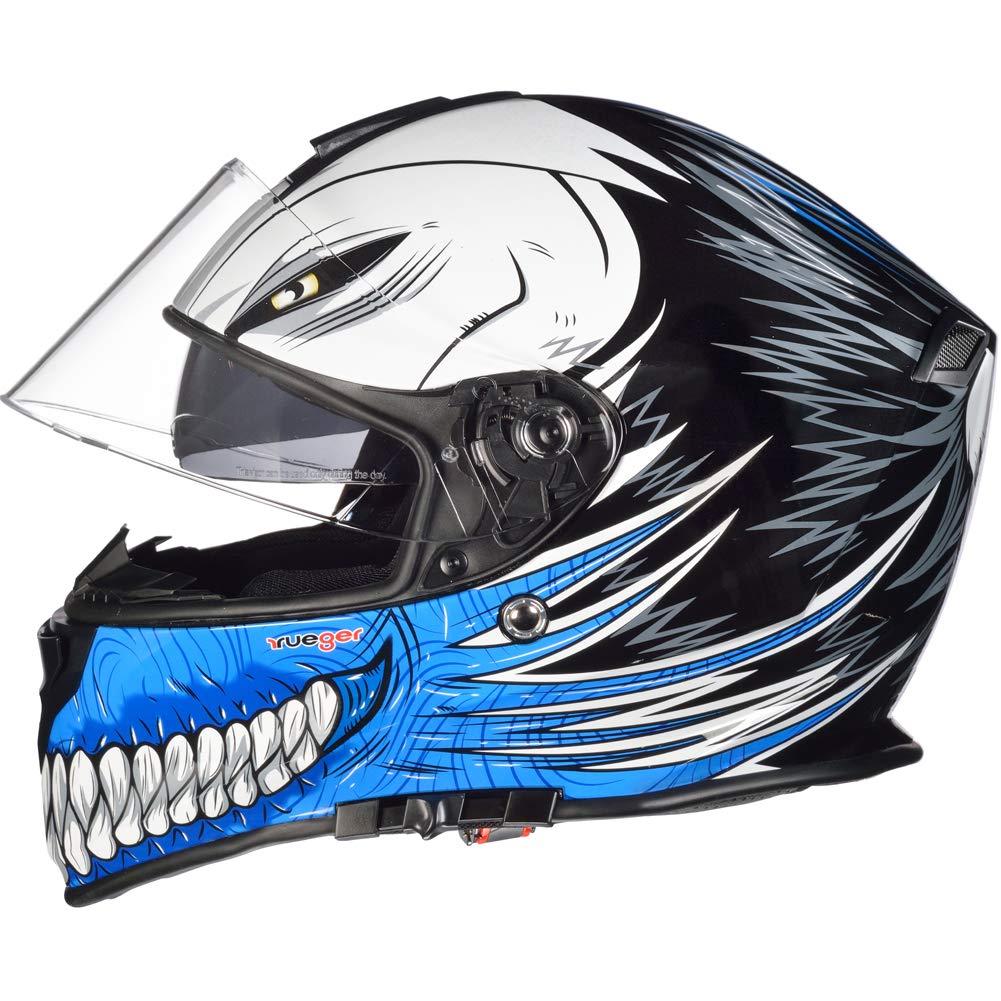 61-62 RT-824 Integralhelm Motorradhelm Kinderhelm Motorrad Integral Roller Helm rueger Farbe:Blue Hollow Gr/ö/ße:XL