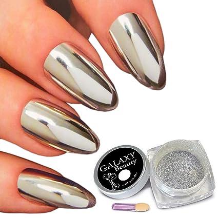 Galaxy Beauty Pigmento En Polvo Para Uñas Color Plata Brillante Con Esponja 1 G