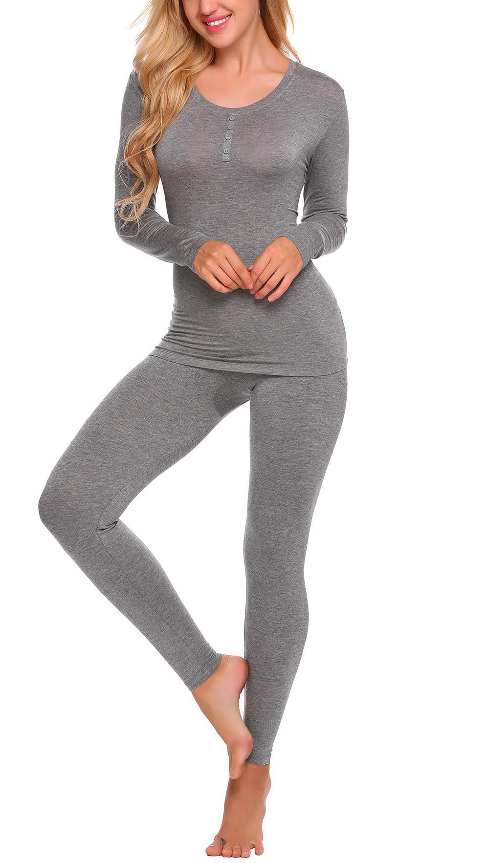 Yozly Thermal Underwear Womens Henley Long Johns Sets Base Layer Top & Bottom S-XXL (Grey,M)