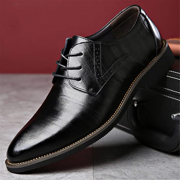 Amazon.com | Sonjer Men Casual Shoes Leather Oxfords Fashion Pointed Top Formal Business Male Wedding Dress Flats Big Size 38-48 | Oxfords