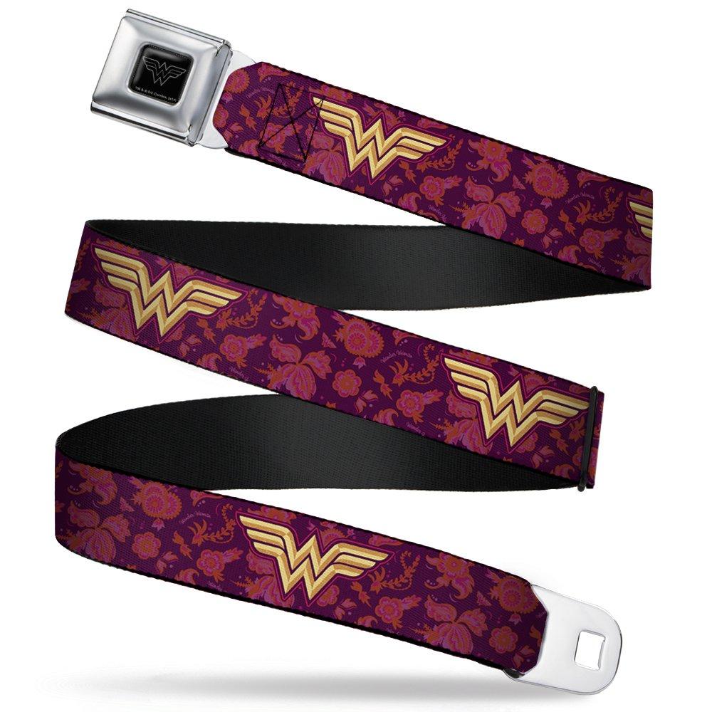 Buckle-Down Seatbelt Belt - Wonder Woman Logo/Floral Collage Purple/Pinks/Gold - 1.5
