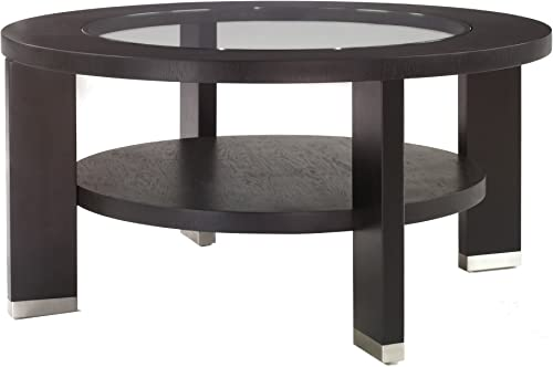 Armen Living 6205 Alta 40-Inch Round Glass Top Occasional Top