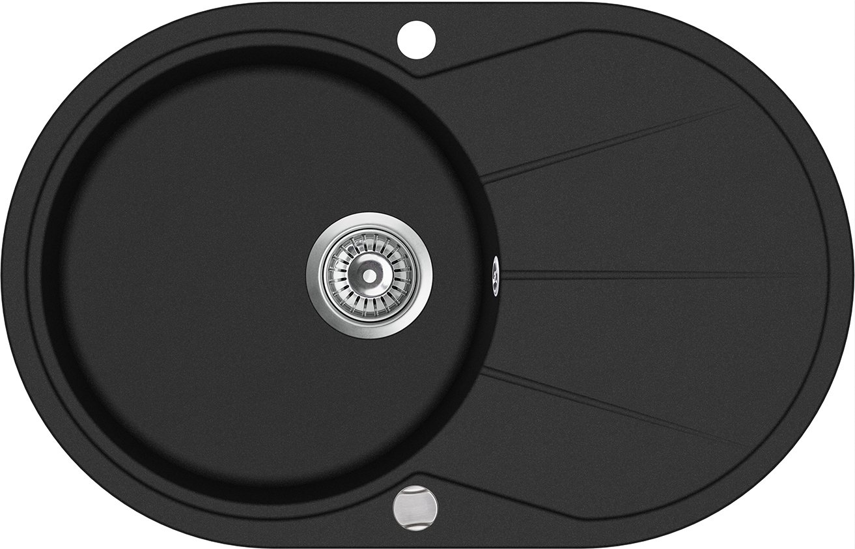 Negra Cocina Fregadero empotrable Reversible redondean con escurridor 78 cm x 50 cm (cs009) GTDE