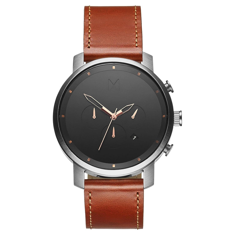 MVMT Watches Chrono Herren Uhr Silver-Natural Leather