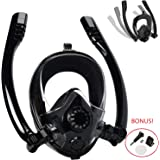 TERSELY Snorkel Mask, Safe Breathing System Anti-Fog & Anti-Leak Design Full Face Snorkeling Mask 180°Panoramic Viewing for Natural Breath Snorkeling Diving Mask Dry Snorkel W/Gopro Adapter - Black
