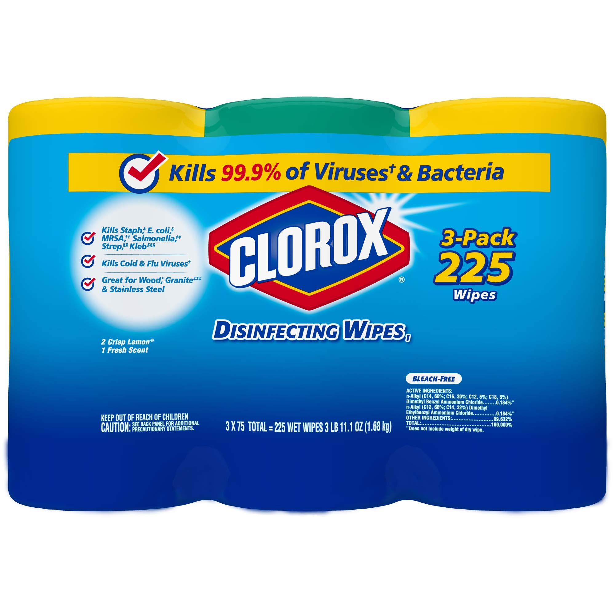 Clorox Disinfecting Wipes Value Pack, Bleach Free Cleaning Wipes - 75 Count Each (Pack of 3) (.5 Pack(225 Count)) by Clorox (Image #6)