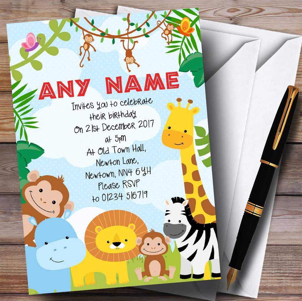 Bright Safari Jungle Animals Childrens Birthday Party Invitations