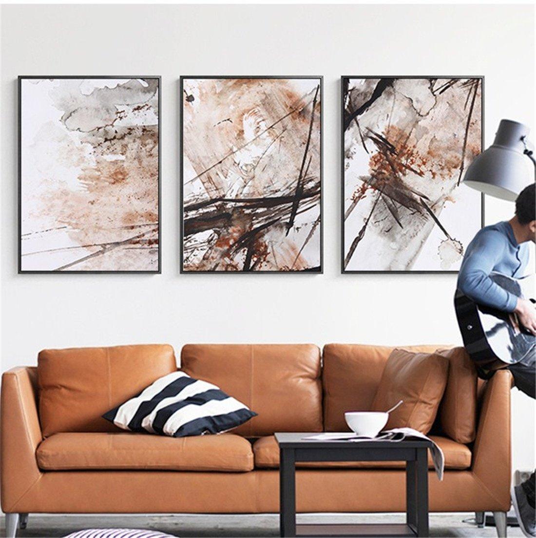 WUTONGarte Abstracto salón Decorativo Pintura sofá Fondo Pintura Moderna Estilo Minimalista Triple Pintura Creativa nórdica Pintura de Pared (43  60  3cm)
