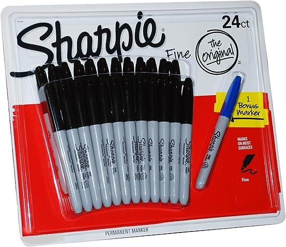 Sharpie - Juego de 24 rotuladores permanentes negros de punta fina ...