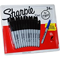 24 +1 SHARPIE Markers Black Permanent Sharpies Marker Pen Bulk Texta Fine Point ( 25 Markers in Total )