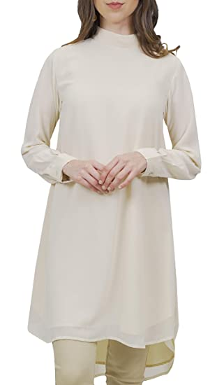 13ed0778842 Image Unavailable. Image not available for. Color  Artizara Women s Sukoon Long  Sleeve Modest Chiffon Tunic Top Kurti Midi Tunic Dress - Off White