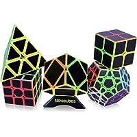Nitrocubes Speed Cube Set 5 Pack Carbon Fibre Rubix Cubes 2x2 3x3 Skewb Pyraminx Megaminx
