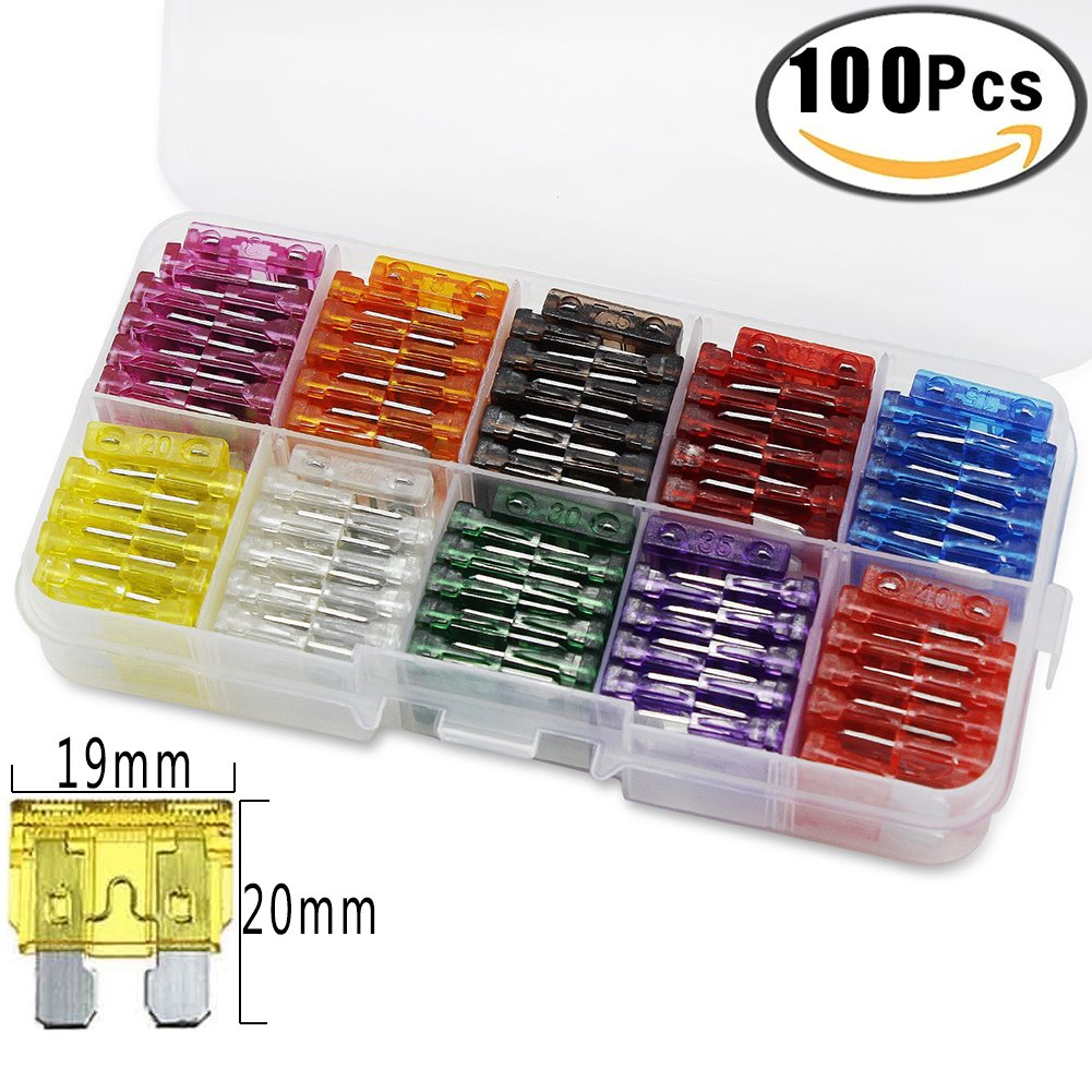 100pcs Automotive Fuses Kit Auto Car Truck Standard Blade Fuse Assortment 2A 3A 5A 7.5 A 10A 15A 20A 25A 30A 35A Car Boat Truck SUV Buss Replacement Fuses Assorted