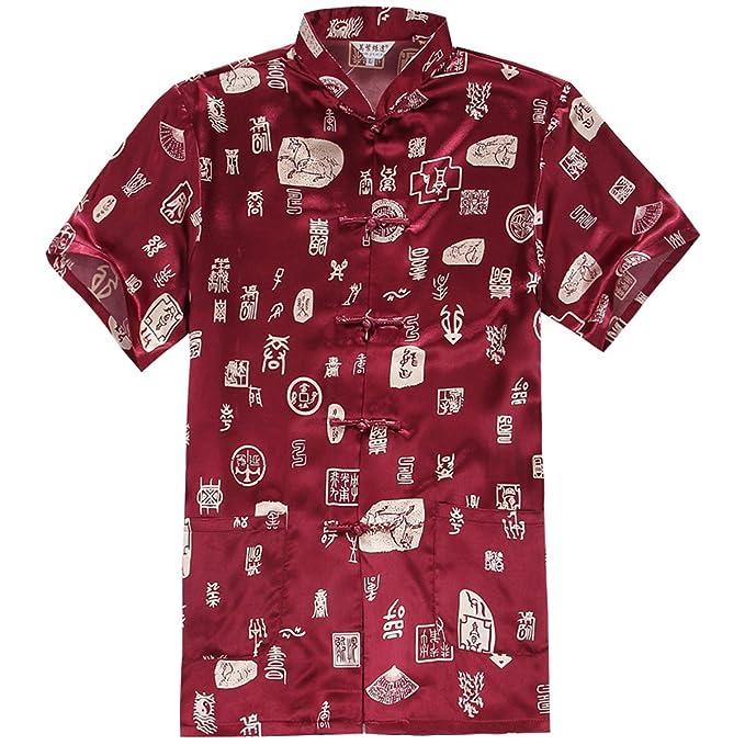 YueLian Hombres Estilo de China Manga Corta Patrón de Carácter Chino Pijama Camisa Vino Rojo (