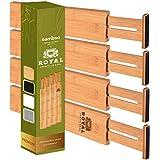 Adjustable Bamboo Drawer Dividers Organizers - Expandable Drawer Organization Separators For Kitchen, Dresser, Bedroom, Bathr