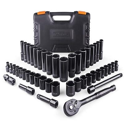 TACKLIFE Drive Socket Set, 3/8'' Reversible 72 Teeth Ratchet , 46 Pieces Socket & Ratchet Set Socket Set with Metric & SAE - SWS2A: Home Improvement