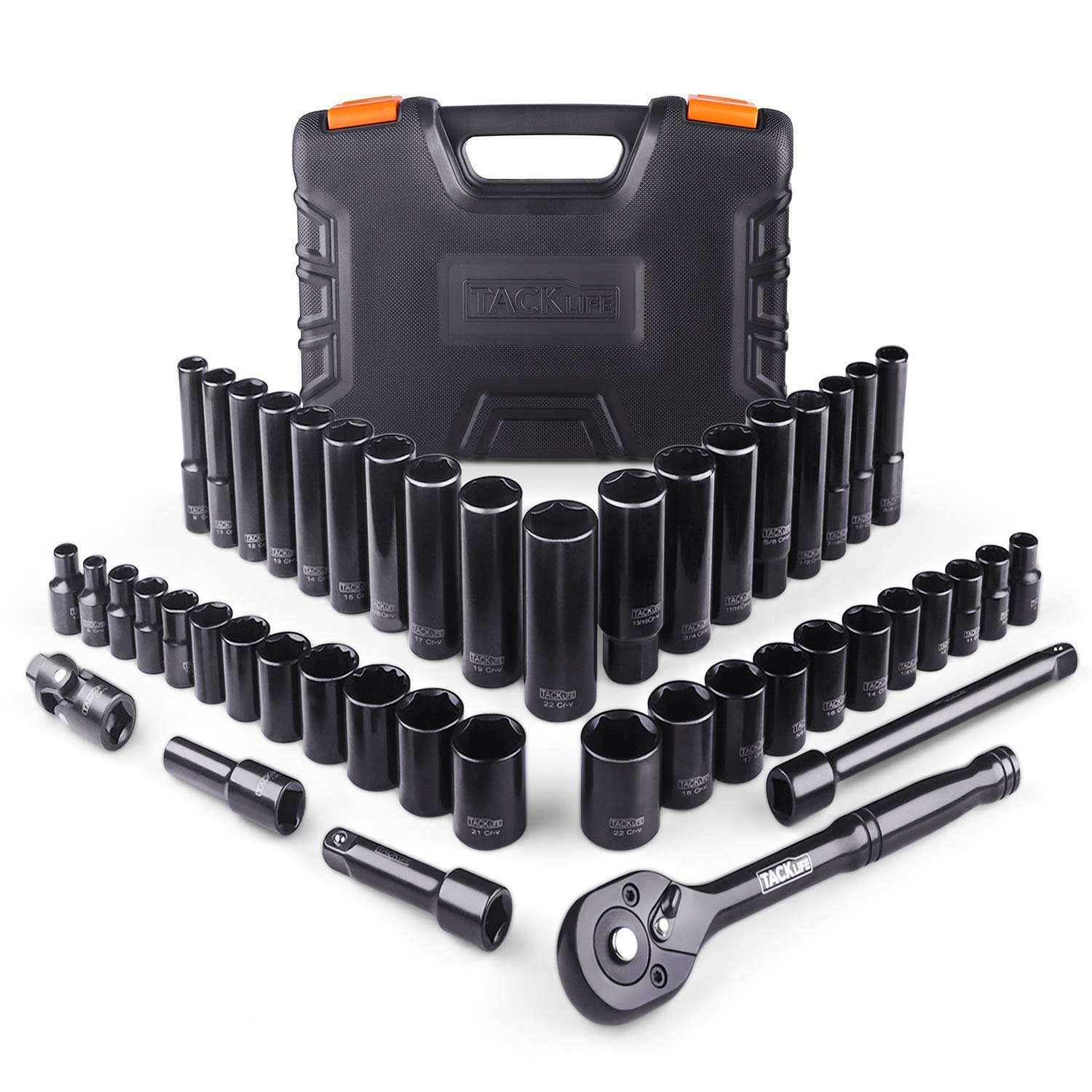 TACKLIFE 46pcs 3/8'' Drive Socket Set, 72-Teeth Ratchet With Metric & SAE Sockets, Upgraded Accessories - SWS2A