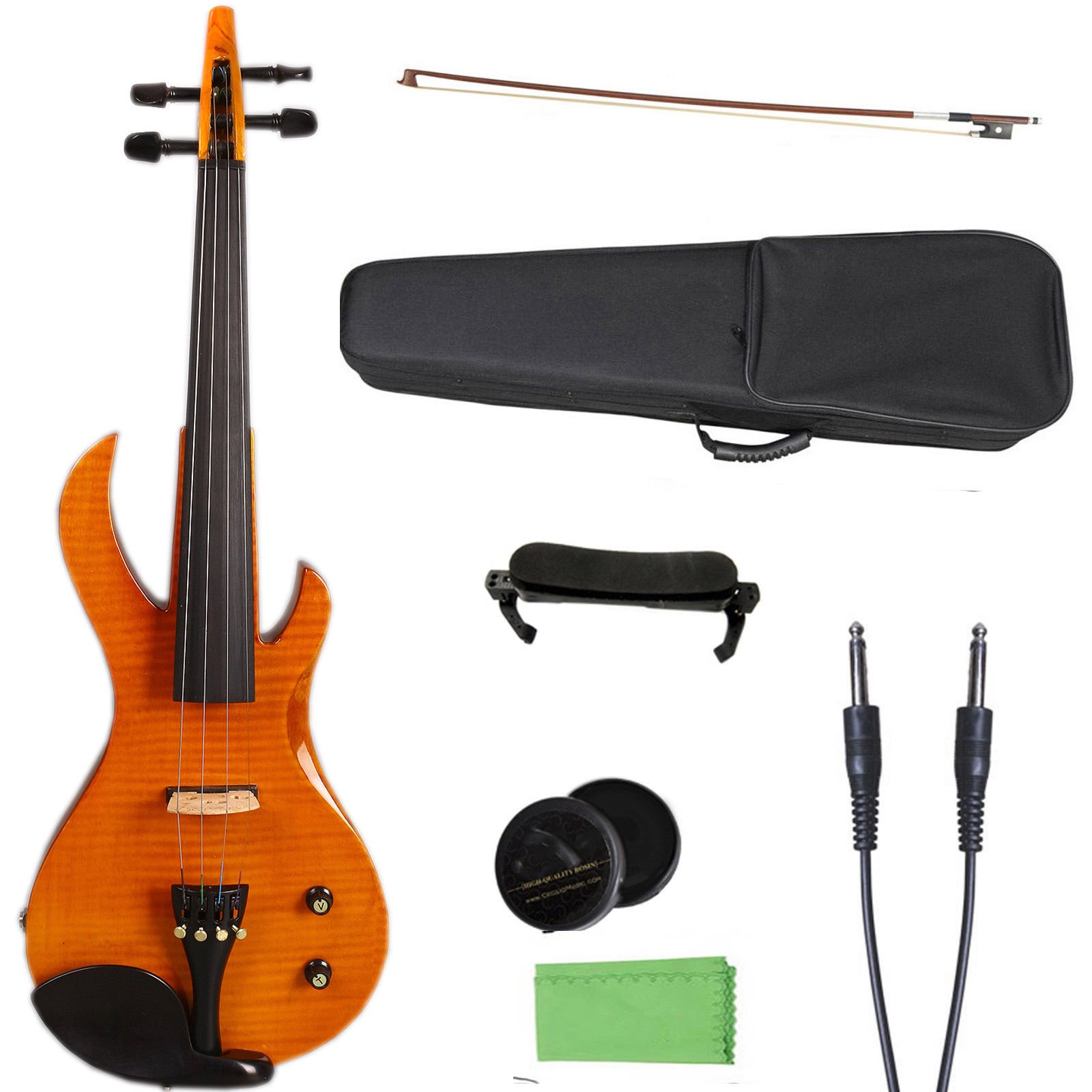 Yinfente 4/4 Violin Metallic Electric Violin Electric Guitar Shape Professional Violin Solid wood Full Size by yinfente