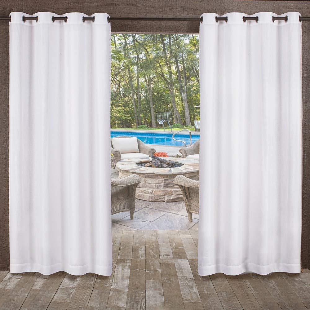 2 Piece 54x84 Winter White Exclusive Home Curtains Miami Textured Sheer Indoor//Outdoor Window Curtain Panel Pair with Grommet Top