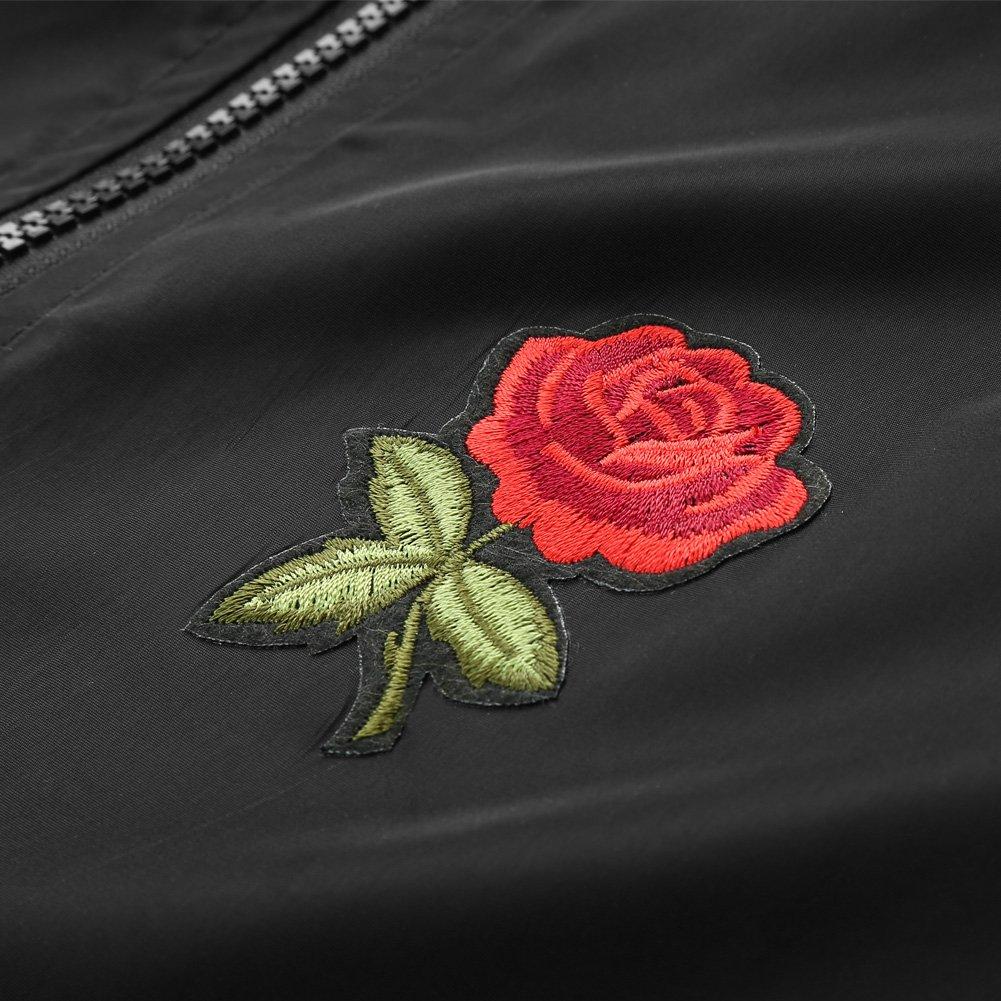 Rose Floral Jacket Mens Lightweight Windbreaker College Jackets