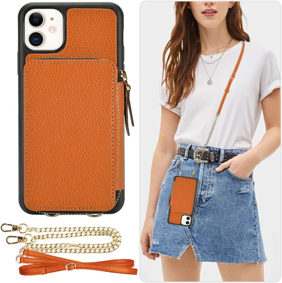 iPhone 11 Wallet Case, ZVE iPhone 11 Zipper Case with Card Holder Slot Crossbody Chain Strap Handbag Purse Wrist Strap Shockproof Leather Case Protective Cover for Apple iPhone 11 6.1 inch - Brown