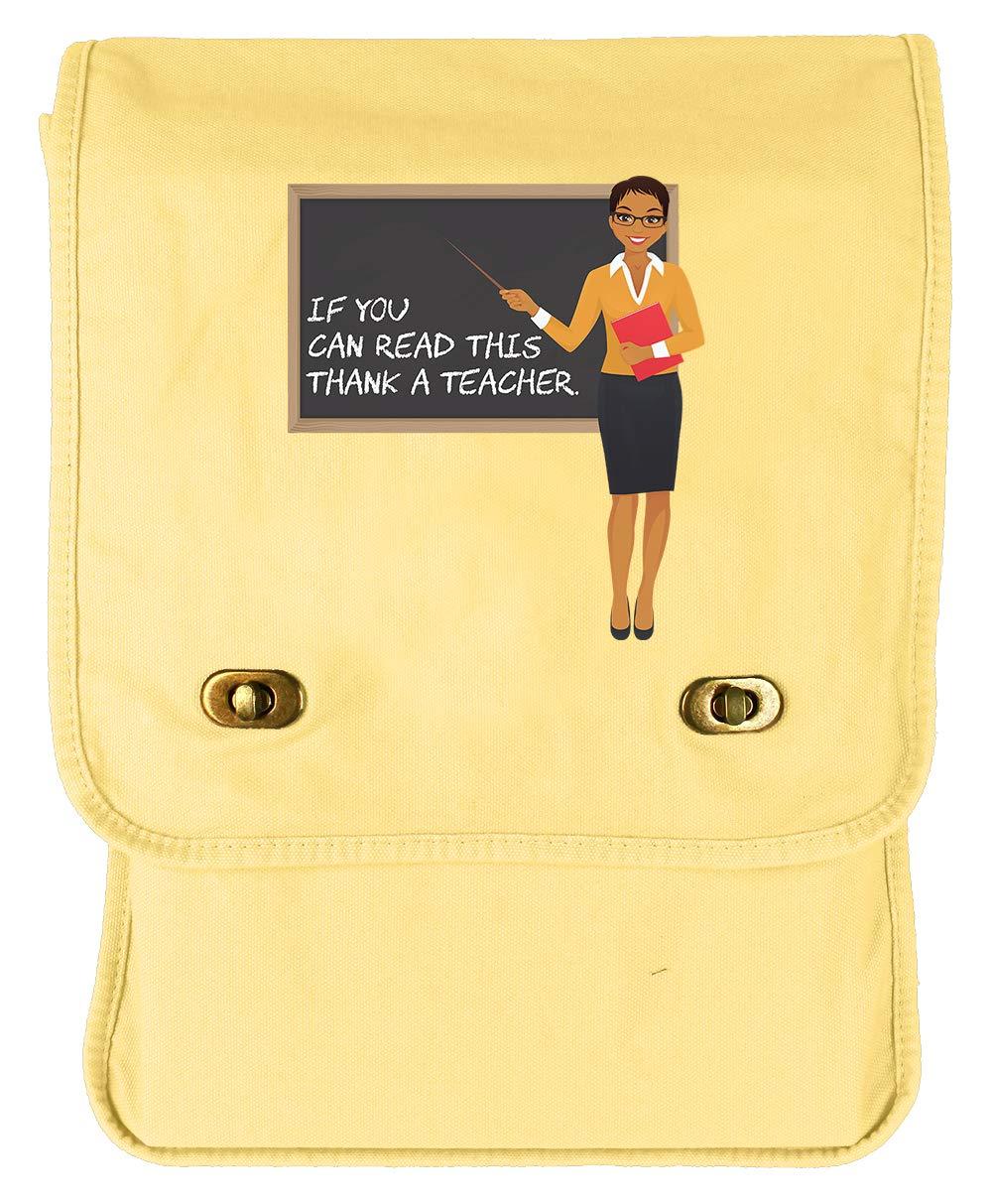 Tenacitee Thank a Teacher Flamingo Raw Edge Canvas Messenger Bag
