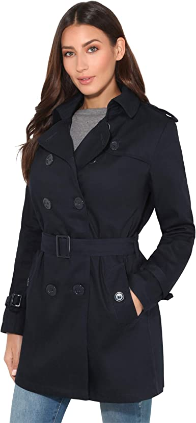 KRISP® Womens Tailored Stylish Double Breasted Trench Coat