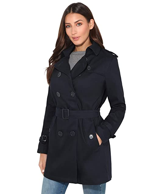 2020 new list buy good KRISP® Womens Tailored Stylish Double Breasted Trench Coat Black