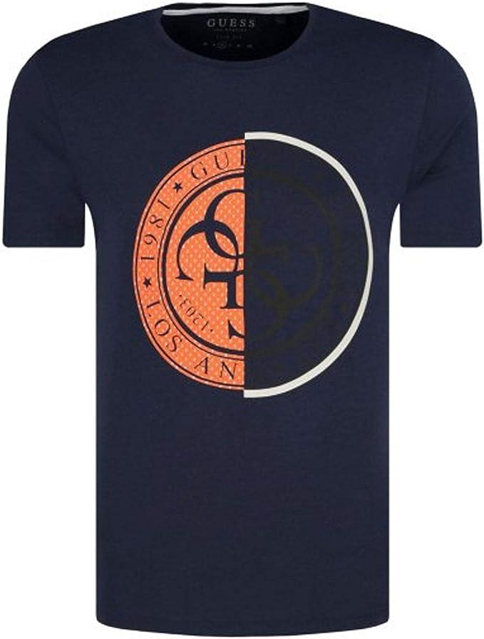 Guess M93I37R5JK0 - Camiseta de Manga Corta, diseño con Logo de Malla, Color Azul Marino: Amazon.es: Ropa y accesorios