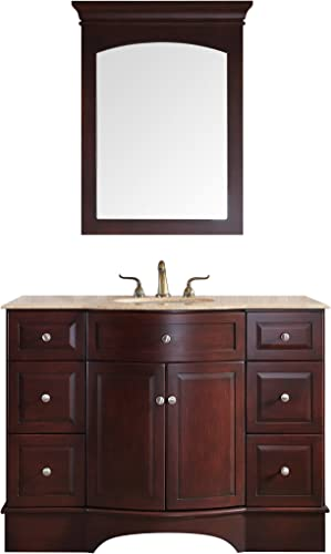 Stufurhome GM-6123-48-TR Lotus Single Vanity with Marble Top in Travertine with with White Under mount Sink and Mirror, 48 , Dark Brown Finish