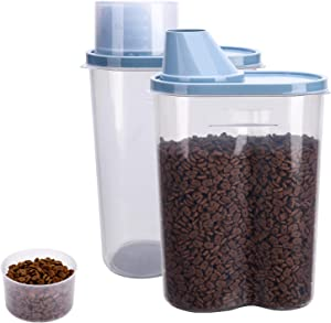 GreenJoy 2 Pack 2lb/2.5L Pet Food Storage Container with Measuring Cup, Pour Spout for Small Dog Cat Bird Turtle, Waterproof Storage