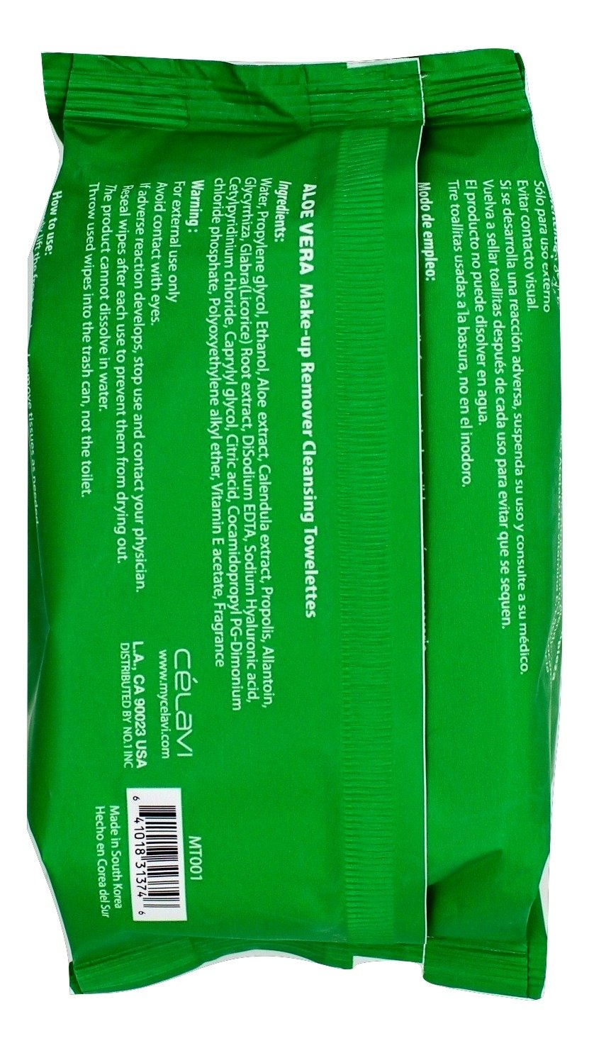 Amazon.com: Celavi Makeup Remover Cleansing Wipes Removing Towelettes 2 Packs - 60 Sheets (Aloe Vera): Beauty