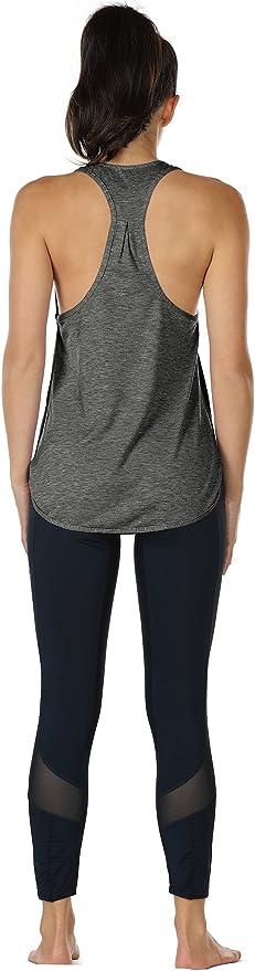 icyzone Donna Maglietta da Sportivo con Scollo a V Confezione da 3 Fitness Corsa T-Shirt