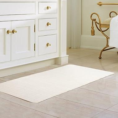 47 x 24 Inch White Memory Foam Bath Mat Absorbent Carpet Runner Extra Long Bathroom Rug Kitchen Floor Bathmat with Non-slip Backing