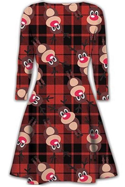 1ed20c5702a4ce Oops Outlet Damen Kurzes Kleid Weihnachten Bäume Weihnachten Santa Olaf  Schneemann Rentier Rudolph Geschenk Glocken Geschenk