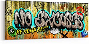 Inktuitive 'No Excuses' Inspirational Wall Art w/Black Frame | Street Graffiti Canvas Print | Modern Décor for Bedroom, Living Room & Business Office | 48 x 20 Inches