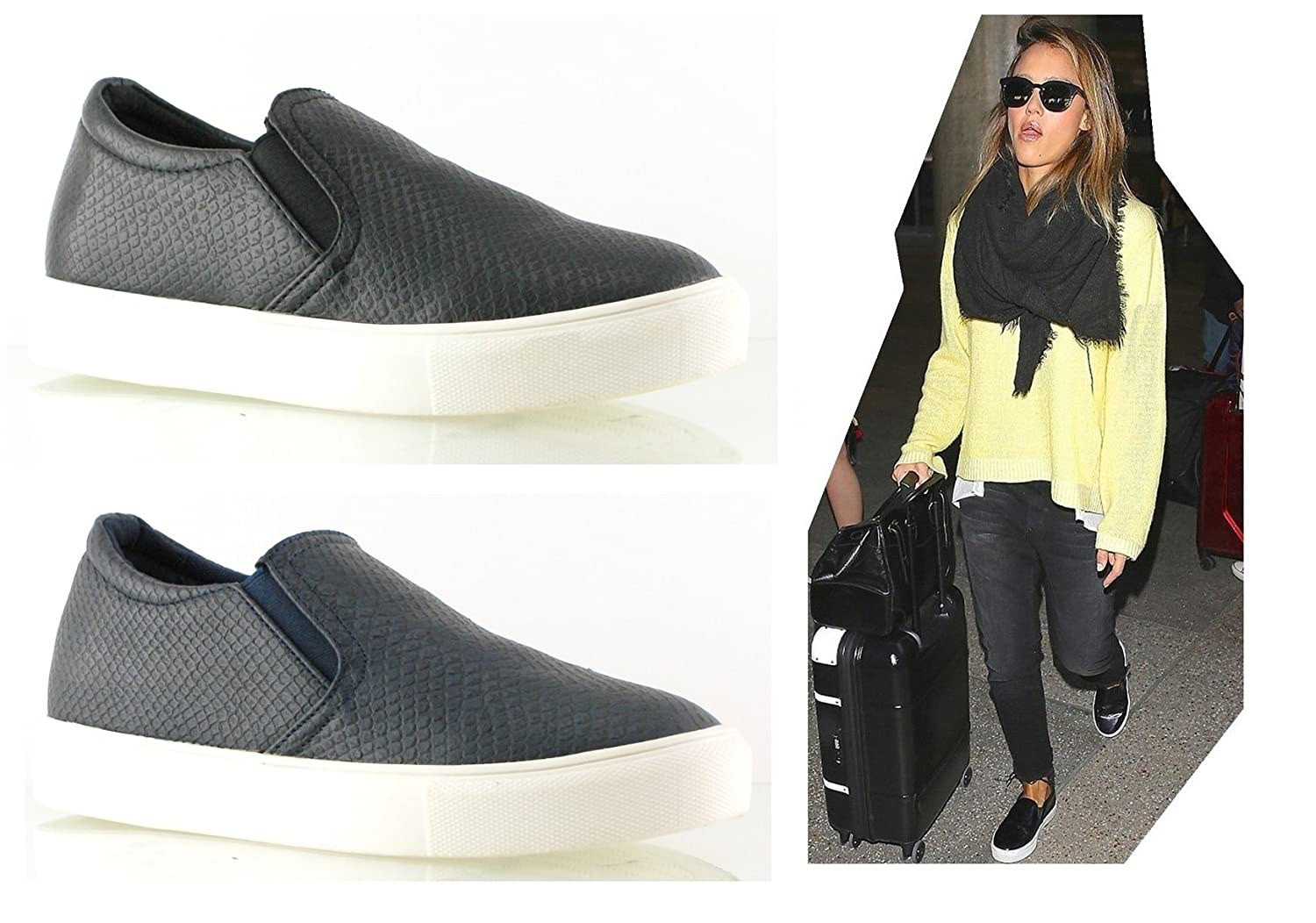 Womens Ladies Slip On Trainers Flat Plimsolls Sneakers Skater Pumps Shoes Size