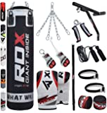 RDX Punch Bag Filled Set Kick Boxing MMA Heavy Training Muay Thai Gloves Punching Mitts Hanging Chain Wall Bracket Anchor Rope Martial Arts 4FT, 5FT